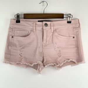 Express Distressed Pink Soft Jean Shorts 4